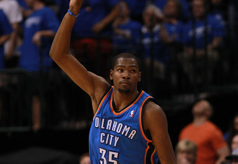 DALLAS, TX - MAY 05:  Kevin Durant #35 of the Oklahoma City Thunder reacts after scoring against the Dallas Mavericks during Game Four of the Western Conference Quarterfinals in the 2012 NBA Playoffs at American Airlines Center on May 5, 2012 in Dallas, T