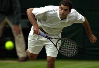 5 Jul 2000:  Pete Sampras of the USA in action against Jan-Michael Gambill of the USA during the quarter finals of the mens singles in the Wimbledon Lawn Tennis Championship at the All England Lawn Tennis and Croquet Club, Wimbledon, London. Mandatory Cre