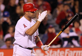 ANAHEIM, CA - MAY 04:  Albert Pujols #5 of the Los Angeles Angels of Anaheim reacts after striking out to end the sixth inning against the Toronto Blue Jays at Angel Stadium of Anaheim on May 4, 2012 in Anaheim, California.  (Photo by Stephen Dunn/Getty I