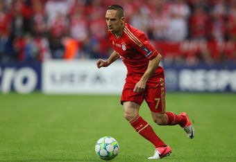 MUNICH, GERMANY - MAY 19:  Franck Ribery of FC Bayern Muenchen in action during UEFA Champions League Final between FC Bayern Muenchen and Chelsea at the Fussball Arena München on May 19, 2012 in Munich, Germany.  (Photo by Alex Livesey/Getty Images)