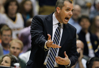 INDIANAPOLIS, IN - MAY 08: Head coach Frank Vogel reacts while playing the Orlando Magic in Game Five of the Eastern Conference Quarterfinals during the 2012 NBA Playoffs on May 8, 2012 at Bankers Life Fieldhouse in Indianapolis, Indiana. Indiana won the