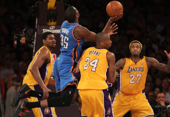 LOS ANGELES, CA - MAY 19:  Kevin Durant #35 of the Oklahoma City Thunder goes up for a shot against Kobe Bryant #24 of the Los Angeles Lakers in the first quarter in Game Four of the Western Conference Semifinals in the 2012 NBA Playoffs on May 19 at Stap