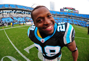 CHARLOTTE, NC - DECEMBER 24: Jonathan Stewart #28 of the Carolina Panthers celebrates after the game against the Tampa Bay Buccaneers at Bank of America Stadium on December 24, 2011 in Charlotte, North Carolina  (Photo by Scott Cunningham/Getty Images)