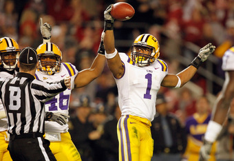 TUSCALOOSA, AL - NOVEMBER 05:  Eric Reid #1 of the LSU Tigers looks at the referee and reacts after catching the ball for an interception against Alabama Crimson Tide during the second half of the game at Bryant-Denny Stadium on November 5, 2011 in Tuscal