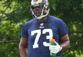 ST. LOUIS, MO - MAY 12: Rokevious Watkins #73 of the St.Louis Rams takes a break during rookie mini camp at the ContinuityX Training Center on May 12, 2012 in St. Louis, Missouri. (Photo by Dilip Vishwanat/Getty Images)