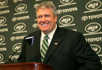 FLORHAM PARK, NJ - JANUARY 21: Rex Ryan addresses the media during a press conference after being introduced as the new Head Coach of the New York Jets at the Atlantic Health Jets Training Center on January 21, 2009 in Florham Park, New Jersey.  (Photo by