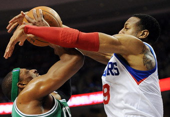 PHILADELPHIA, PA - MAY 23: Paul Pierce #34 of the Boston Celtics is fouled by Andre Iguodala #9 of the Philadelphia 76ers in Game Six of the Eastern Conference Semifinals in the 2012 NBA Playoffs at the Wells Fargo Center on May 23, 2012 in Philadelphia,
