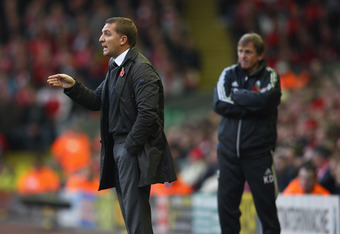 LIVERPOOL, ENGLAND - NOVEMBER 05:  Manager of Swansea City Brendan Rodgers gesticulates during the Barclays Premier League match between Liverpool and Swansea City at Anfield on November 5, 2011 in Liverpool, England.  (Photo by Clive Mason/Getty Images)