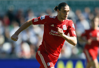 SWANSEA, WALES - MAY 13:  Andy Carroll of Liverpool in action during the Barclays Premier League match between Swansea City and Liverpool at the Liberty Stadium on May 13, 2012 in Swansea, Wales.  (Photo by Bryn Lennon/Getty Images)