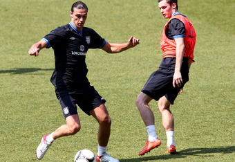 MANCHESTER, ENGLAND - MAY 24:  Andy Carroll (L) and Andy Johnson during an England training session at Etihad Stadium on May 24, 2012 in Manchester, England.  (Photo by Scott Heavey/Getty Images)