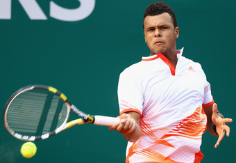 MONTE-CARLO, MONACO - APRIL 17:  Jo-Wilfried Tsonga of France in action in his match against Philipp Kohlschreiber of Germany during day three of the ATP Monte Carlo Masters on April 17, 2012 in Monte-Carlo, Monaco.  (Photo by Julian Finney/Getty Images)