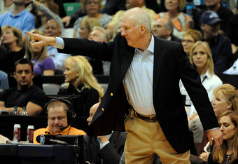 SALT LAKE CITY, UT  - MAY 7: Head coach Gregg Popovich of the San Antonio Spurs directs his team during the fourth quarter of Game Four of the Western Conference Quarterfinals against the Utah Jazz in the 2012 NBA Playoffs at EnergySolutions Arena on May
