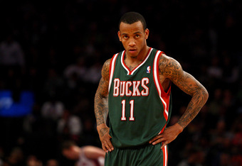 NEW YORK, NY - MARCH 26:  Monta Ellis #11 of the Milwaukee Bucks looks on against the New York Knicks at Madison Square Garden on March 26, 2012 in New York City. NOTE TO USER: User expressly acknowledges and agrees that, by downloading and or using this