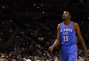 SAN ANTONIO, TX - MAY 27:  Kevin Durant #35 of the Oklahoma City Thunder reacts in the first quarter while taking on the San Antonio Spurs in Game One of the Western Conference Finals of the 2012 NBA Playoffs at AT&T Center on May 27, 2012 in San Antonio,