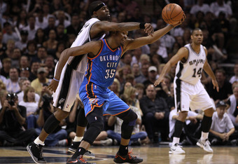 SAN ANTONIO, TX - MAY 27:  Stephen Jackson #3 of the San Antonio Spurs attempts to steal the ball from Kevin Durant #35 of the Oklahoma City Thunder in the fourth quarter in Game One of the Western Conference Finals of the 2012 NBA Playoffs at AT&T Center