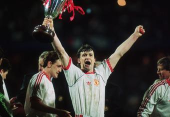 Goalscorer Mark Hughes celebrates the 1991 European Cup Winners' Cup.