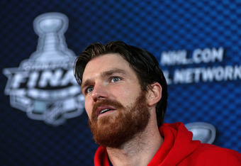 NEWARK, NJ - MAY 29:  David Clarkson #23 of the New Jersey Devils speaks during Media Day for the 2012 Stanley Cup Final at Prudential Center on May 29, 2012 in Newark, New Jersey.  (Photo by Bruce Bennett/Getty Images)