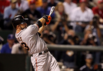 ARLINGTON, TX - NOVEMBER 01:  Cody Ross #13 of the San Francisco Giants bats against the Texas Rangers in Game Five of the 2010 MLB World Series at Rangers Ballpark in Arlington on November 1, 2010 in Arlington, Texas. The Giants won 3-1.  (Photo by Ronal