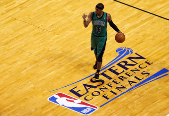 MIAMI, FL - MAY 30:  Rajon Rondo #9 of the Boston Celtics brings the ball up court against the Miami Heat in Game Two of the Eastern Conference Finals in the 2012 NBA Playoffs on May 30, 2012 at American Airlines Arena in Miami, Florida. NOTE TO USER: Use