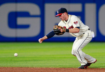 Tyler Pastornicky has the lowest fielding percentage in MLB among shortstops.