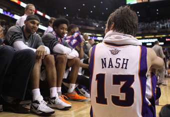PHOENIX, AZ - APRIL 25:  Steve Nash #13 of the Phoenix Suns talks with teammates on the bench during the NBA game against the San Antonio Spurs at US Airways Center on April 25, 2012 in Phoenix, Arizona.  The Spurs defeated the Suns 110-106.  NOTE TO USER