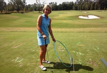 """Doctor 59"" Krista Dunton on the range with a variety of swing props."