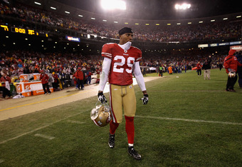 SAN FRANCISCO, CA - JANUARY 22:  Chris Culliver #29 of the San Francisco 49ers walks off the field after the 49ers lost the NFC Championship Game against the New York Giants at Candlestick Park on January 22, 2012 in San Francisco, California. The Giants