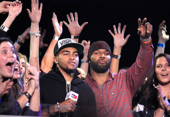 INDIANAPOLIS, IN - FEBRUARY 02:  Philadelphia Eagles DeSean Jackson and Chicago Bears Matt Forte speak onstage during VH1's Super Bowl Fan Jam at Indiana State Fairgrounds, Pepsi Coliseum on February 2, 2012 in Indianapolis, Indiana.  (Photo by Christophe