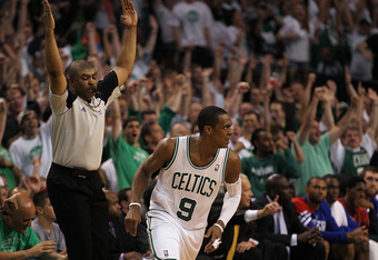 BOSTON, MA - MAY 26:  Rajon Rondo #9 of the Boston Celtics reacts after scoring against the Philadelphia 76ers, in Game Seven of the Eastern Conference Semifinals during the 2012 NBA Playoffs on May 26, 2012 at TD Garden in Boston, Massachusetts. NOTE TO