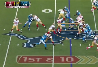 The offensive line opened a great lane (gold lines) for Gore but also gave him two potential directions to go in (footage courtesy of Fox).
