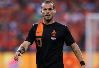 ROTTERDAM, NETHERLANDS - MAY 30:  Wesley Sneijder of Netherlands in action during the International Friendly between the Netherlands and Slovakia at De Kuip Stadion on May 30, 2012 in Rotterdam, Netherlands.  (Photo by Dean Mouhtaropoulos/Getty Images)