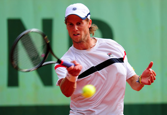 PARIS, FRANCE - JUNE 01:  Andreas Seppi of Italy plays a forehand during his men's singles third round match against Fernando Verdasco of Spain during day six of the French Open at Roland Garros on June 1, 2012 in Paris, France.  (Photo by Mike Hewitt/Get