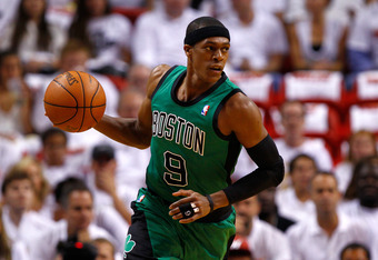 MIAMI, FL - MAY 30:  Rajon Rondo #9 of the Boston Celtics brings the ball up court in the first quarter against the Miami Heat in Game Two of the Eastern Conference Finals in the 2012 NBA Playoffs on May 30, 2012 at American Airlines Arena in Miami, Flori