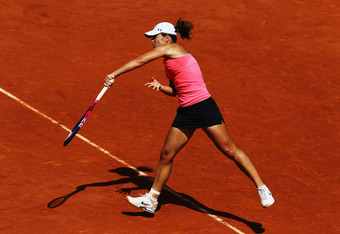 PARIS, FRANCE - JUNE 02:  Varvara Lepchenko of USA serves in her women's singles third round match against  Francesca Schiavone of Italy during day seven of the French Open at Roland Garros on June 2, 2012 in Paris, France.  (Photo by Matthew Stockman/Get