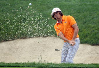 DUBLIN, OH - JUNE 01:  Rickie Fowler hits his third shot on the par 4 14th hole during the second round of the Memorial Tournament presented by Nationwide Insurance on June 1, 2012 in Dublin, Ohio.  (Photo by Andy Lyons/Getty Images)
