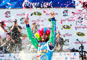 DOVER, DE - JUNE 03:  Jimmie Johnson, driver of the #48 Lowe's Madagascar Chevrolet, celebrates in Victory Lane after winning the NASCAR Sprint Cup Series FedEx 400 benefiting Autism Speaks at Dover International Speedway on June 3, 2012 in Dover, Delawar