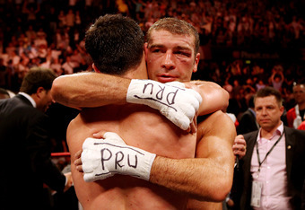 NOTTINGHAM, ENGLAND - MAY 26:  Lucian Bute congratulates Carl Froch after their IBF World Super Middleweight Title bout at Nottingham Capital FM Arena on May 26, 2012 in Nottingham, England.  (Photo by Scott Heavey/Getty Images)