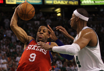 BOSTON, MA - MAY 26:  Andre Iguodala #9 of the Philadelphia 76ers drives to the basket against Paul Pierce #34 of the Boston Celtics in Game Seven of the Eastern Conference Semifinals during the 2012 NBA Playoffs on May 26, 2012 at TD Garden in Boston, Ma