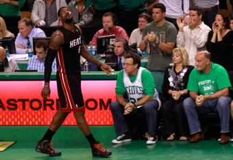 BOSTON, MA - JUNE 03:  LeBron James #6 of the Miami Heat looks on after he fouled out of the game in overtime against the Boston Celtics in Game Four of the Eastern Conference Finals in the 2012 NBA Playoffs on June 3, 2012 at TD Garden in Boston, Massach
