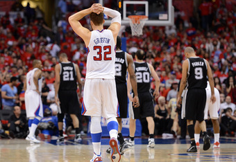 LOS ANGELES, CA - MAY 20:  Blake Griffin #32 of the Los Angeles Clippers reacts late in the fourth quarter before the Clippers lose to the San Antonio Spurs 102-99 in Game Four of the Western Conference Semifinals in the 2012 NBA Playoffs on May 20, 2011