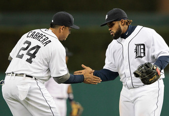 DETROIT, MI - MAY 01: Miguel Cabrera #24 and Prince Fielder #28 of the Detroit Tigers celebrate a victory over the Kansas City Royals at Comerica Park on May 1, 2012 in Detroit, Michigan. The Tigers defeated the Royals 9-3. (Photo by Leon Halip/Getty Imag