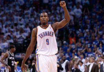 OKLAHOMA CITY, OK - JUNE 02:  Serge Ibaka #9 of the Oklahoma City Thunder reacts in the fourth quarter while taking on the San Antonio Spurs in Game Four of the Western Conference Finals of the 2012 NBA Playoffs at Chesapeake Energy Arena on June 2, 2012