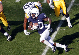 STATE COLLEGE, PA - OCTOBER 8:  Devon Smith #20 of the Penn State Nittany Lions runs after the catch against the Iowa Hawkeyes during the game on October 8, 2011 at Beaver Stadium in State College, Pennsylvania.  (Photo by Justin K. Aller/Getty Images)