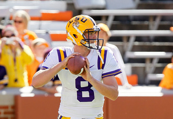KNOXVILLE, TN - OCTOBER 15:  Zach Mettenberger #8 of the LSU Tigers against the Tennessee Volunteers at Neyland Stadium on October 15, 2011 in Knoxville, Tennessee.  (Photo by Kevin C. Cox/Getty Images)
