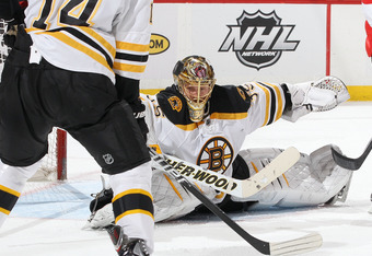 OTTAWA, CANADA - APRIL 5: Anton Khudobin #35 of the Boston Bruins makes a save during an NHL game against the Ottawa Senators at Scotiabank Place on April 5, 2012 in Ottawa, Ontario, Canada.  (Photo by Jana Chytilova/Freestyle Photography/Getty Images)