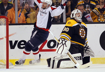 BOSTON, MA - APRIL 21:  Troy Brouwer #20 of the Washington Capitals celebrates his game winning powerplay goal at 18:33 against Tim Thomas #30 of the Boston Bruins in Game Five of the Eastern Conference Quarterfinals during the 2012 NHL Stanley Cup Playof