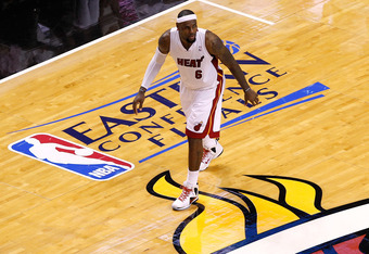 MIAMI, FL - JUNE 05:  LeBron James #6 of the Miami Heat looks on against the Boston Celtics in Game Five of the Eastern Conference Finals in the 2012 NBA Playoffs on June 5, 2012 at American Airlines Arena in Miami, Florida. NOTE TO USER: User expressly a