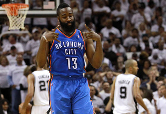 SAN ANTONIO, TX - JUNE 04:  James Harden #13 of the Oklahoma City Thunder hitting a three point late in the fourth quarter against the San Antonio Spurs in Game Five of the Western Conference Finals of the 2012 NBA Playoffs at AT&T Center on June 4, 2012