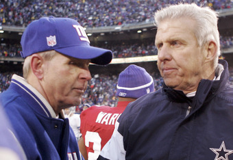 EAST RUTHERFORD, NJ - DECEMBER 4:  Head coach Bill Parcells (R) of the Dallas Cowboys shakes hands with head coach Tom Coughlin of the New York Giants after their game on December 4, 2005 at Giants Stadium in East Rutherford, New Jersey. The Giants defeat