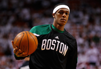 MIAMI, FL - JUNE 05:  Rajon Rondo #9 of the Boston Celtics looks on during warm ups against the Miami Heat in Game Five of the Eastern Conference Finals in the 2012 NBA Playoffs on June 5, 2012 at American Airlines Arena in Miami, Florida. NOTE TO USER: U
